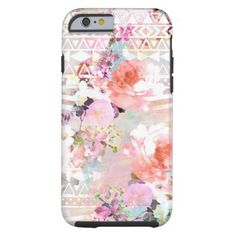 Aztec Pink Teal Watercolor Chic Floral Pattern Tough iPhone 6 Case  | Visit the Zazzle Site for More: http://www.zazzle.com/?rf=238228028496470081 [Referral Link]