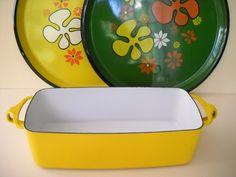 Dansk Yellow Enamel Long  Loaf Pan Bread Pan Baking Pan by Modernaire on Etsy