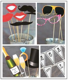 More wedding photo booth prop ideas. The champagne, glasses & top hat would be great for New Years as well.