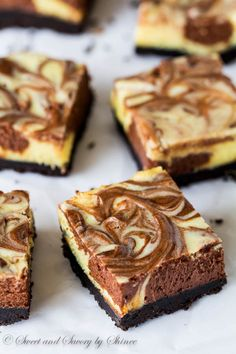 Creamy and rich, these triple chocolate cheesecake bars are such an eye-candy and are bound to satisfy your sweet tooth! Triple Chocolate Cheesecake, Decadent Chocolate Cake, Chocolate Desserts, Easy Desserts, Delicious Desserts, Dessert Recipes, Bar Recipes, Chocolate Lovers, Baking Recipes