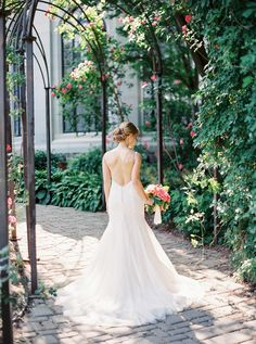 Coral Garden Party Wedding at Casa Loma Backless Mermaid Wedding Dresses, White Wedding Dresses, Garden Party Wedding, Summer Wedding, Whimsical Wedding Inspiration, Beautiful Bride, Bridal Gowns, Style Me, Wedding Photography