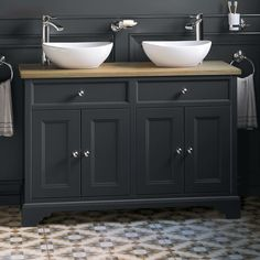 For a traditional double basin unit with a difference, the Loxley charcoal double vanity unit with counter top sinks is a show stopper. Counter Top Sink Bathroom, Bathroom Vanity Units, Bathroom Basin, Bathroom Layout, Bathroom Shower Curtains, Bathroom Interior Design, Modern Bathroom, Master Bathroom, Bathroom Ideas