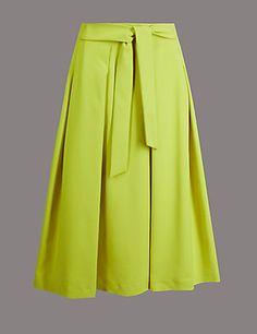 Cotton Blend Tie Front A-Line Midi Skirt | M&S