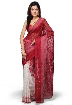 Red and White Cotton and Silk Bengal Handloom Saree with Blouse: SPN2225
