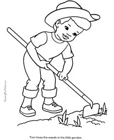 farmer coloring page on the farm