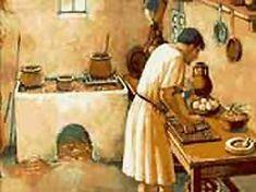 Esta imagen representa el interior de una casa de la antigua roma en el cual se encuentra un hombre haciendo sus labores cotidianas.