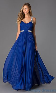 Pleated Blue Velvet Prom Dress at SimplyDresses.com