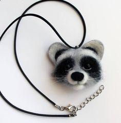Raccoon necklace Raccoon jewelry Needle felted raccoon