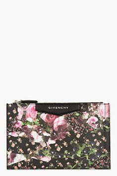 GIVENCHY Pink pebbled Floral Camo Antigona Zip Pouch