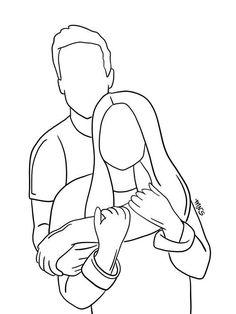 Pencil Art Drawings, Art Drawings Sketches, Love Drawings, Easy Drawings, Hipster Drawings, Tumblr Outline Drawings, Person Sketch, Person Drawing, Drawing People