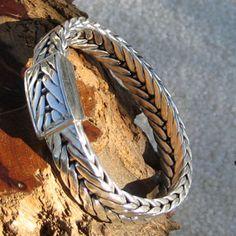 The Hunt Club Foxtail Weave Bali Silver Bracelet