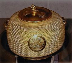 Water temperatures matters for Japanese green tea - This is an antique Gold Water Vessel used for Tea Ceremony. www.TeaLifestyleJournal.com