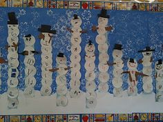 Kindergarten: Make their names into snow men!! Have them write each letter of their names on diffeent small plates and ten stack them like snowmen. Then have them make arms and a hat and a face for their snowmen. Suc a great bullitin board and such a fun activity!