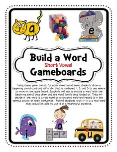 Students will practice building real and nonsense short vowel words using the colorful gameboards.  They will move around the word family gameboards and draw a beginning sound.  Then they will have to decide if the word is real or nonsense and record it on their record sheet.