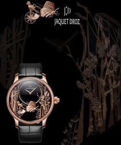 REPOST!!!  LOVING BUTTERFLY AUTOMATON  by JAQUET DROZ  Black onyx dial with hand-engraved 18-karat red gold appliques. 18-karat red gold case. Hand-winding mechanical automaton movement with push-button triggering mechanism moving the butterfly's wings an