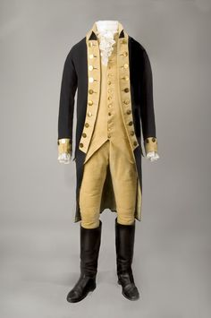 July 3, 1775: George Washington assumes command of the Continental Army. As a Virginian, the hope was that Washington could unite the colonies. This blue wool coat is part of a suit of regimentals made for Washington in 1789. It has a buff wool rise-and-fall collar, buff cuffs and lapels, and buff lining; there is a row of yellow metal buttons on each lapel, as well as on each cuff.