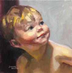 """Baby   10""""x10"""" oil on stretched canvas. This was fun! Sure, I fought my way through, but it was a pleasurable fight. It's nice to stop a..."""