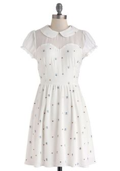 The Nature of the Neighborhood Dress - White, Multi, Embroidery, Peter Pan Collar, Ruffles, Casual, A-line, Cap Sleeves, Collared, Floral, Fairytale, Sheer, Mid-length