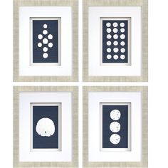 Complement your coral design with the Sand Dollars set of four artwork. Features sand dollars mounted on blue sisal grasscloth and shadow boxed. To clean, wipe with a dust cloth. Frames On Wall, Framed Wall Art, Framed Prints, Sand Dollar Art, Coral Design, Shadow Box Art, Wall Art Sets, Graphic Art, 3 D