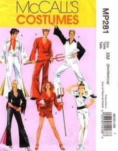 70s costume patterns | Saturday Night Fever Costume Pattern McCall s MP281 Pilot Elvis etc ...