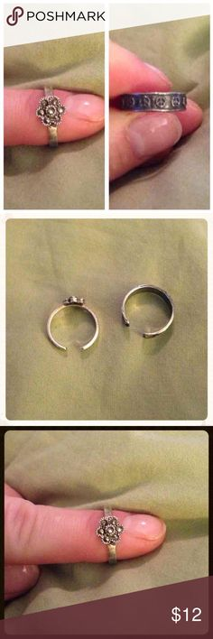 Sterling Silver Toe Rings Sterling silver toe ring set. One has a flower and the other is surrounded by peace signs. Jewelry