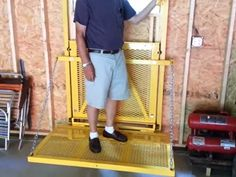 An elevator that will go from the basement to the attic kept in a barn lift by homemade barn lift featuring tubing and channel construction and powered by garage liftgarage shophomemade toolsdiy solutioingenieria Images
