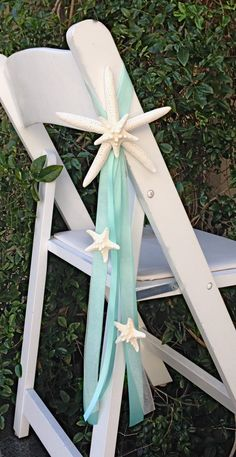 Beach Wedding Starfish Chair Decoration with by SeashellCollection