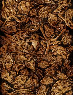 pyrography wood texture   Gobbling Goblins by Culpeo-Fox