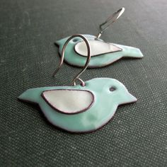 Teal and White Bird Earrings -- handmade glass enamel earrings with silver wires