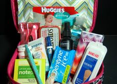 Stash this car kit in your car before a road trip or long ride to keep your purse clutter free. Via Pink Polkadot Creations