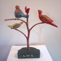 Wood Bird, Bird Tree, Woodturning, Carved Wood, Craftsman, Folk Art, Sculpting, Initials, June