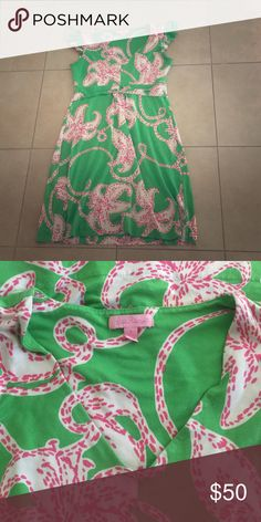 Lilly Pulitzer Dress Worm but good condition dress by Lilly Pulitzer; green with pink/white star fish. Lilly Pulitzer Dresses Midi