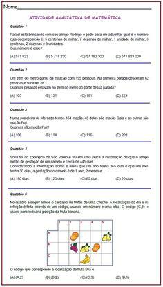 Avaliação de Matemática 4º ano   Rérida Maria