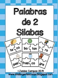 Spanish Puzzle for 2 Syllable Words (Rompecabezas para Palabras de dos silabas) 44 palabras en total