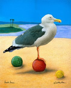 Beach Bocce... Painting by Will Bullas