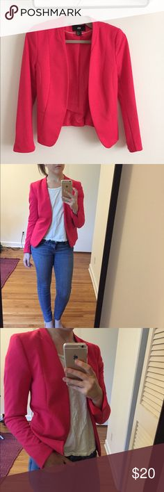 Statement bright pink blazer Fun addition to any business casual closet. Perfect for petite fit. No closure, very tailored looking. The color is bright and vibrant--a true pink color! H&M Jackets & Coats Blazers