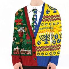 Are you just Jew-ish? Or want a really special way to celebrate Merry Jew Year's Eve-ukkah? This photo realistic ugly holiday sweater made of t-shirt material fits all of your holiday needs. 100% poly