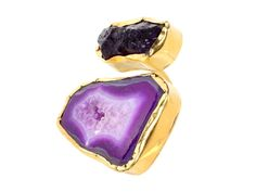 tale of two stones ring by zariin (purple agate and amethyst)
