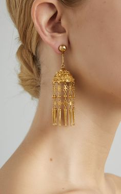 Yellow Gold Indian Jhumkas Pendant Earrings by Hanut Singh - Gold Jewelry Gold Jhumka Earrings, Gold Chandelier Earrings, Pendant Earrings, Women's Earrings, Indian Earrings Gold, Earring Studs, Gold Earrings For Women, Gold Earrings Designs, Gold Designs