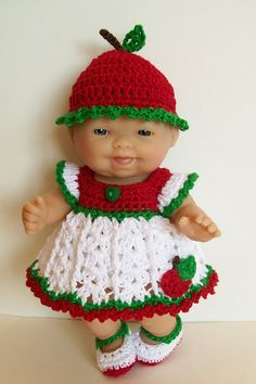 Berenguer itty bitty Lots to Love Reborn Doll Clothes Clothing - 5 inch Berenguer Doll Outfit -  Apple Doll Dress