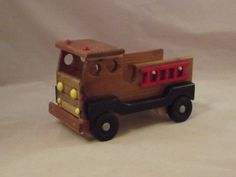 small wooden fire truck by margaretfisher1 on Etsy