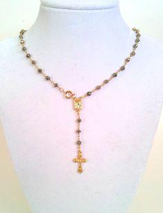 Coss Necklace Gold Rosary Inspired  Mens Womens Girls  Crucifix Cross Pendant Custom Rosaries