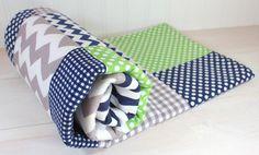 Baby Boy Blanket, Nursery Decor, Photography Prop, Fleece Blanket, Baby Bedding, Chevron Nursery, Navy Blue, Green and Gray, Grey Chevron