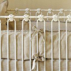 Pom Pom at Home Crib Bedding Charlie Organic Linen Crib Bumper Flax - Final Sale @LaylaGrayce