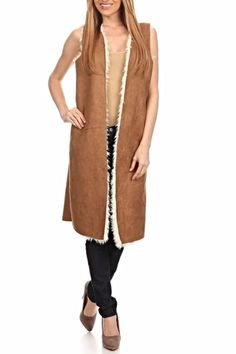Faux suede vest with a midi length, open front and fauxshearling lining.   Faux Sherling Vest by Freeway Apparel. Clothing - Jackets, Coats & Blazers - Vests Philadelphia, Pennsylvania