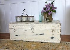 Neglected Steamer Trunk Makeover with Annie Sloan chalk paint and wax, from My Passion For Decor.