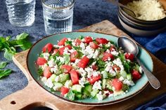Couscousalade met watermeloen en feta – 5 OR LESS No Carb Recipes, Healthy Recipes, Healthy Foods, Lunch Time, Couscous, Cobb Salad, Ham, Salad Recipes, Salads