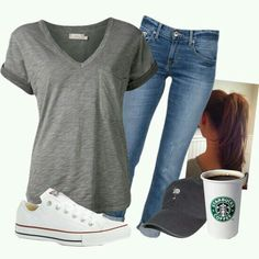 Casual but cute. I love my grey vneck tee.