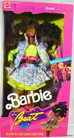 1989 Barbie and the Beat Doll Christie AA African American 2754 Glow in the Dark Fashion and Cassette Tape / Guitar NRFB NIB New Mattel, Inc. 1980s Barbie, Barbie Box, Mattel Barbie, Vintage Barbie, Vintage Toys, 1980s Toys, Barbie Birthday, Childhood Toys, Childhood Memories