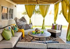 small patio design ideas - this could be a great way to liven up my patio - maybe just these curtains on the sides (never to actually be closed, just texture